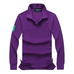 Long Sleeve Polo Purple Canada - Fashion Men Polos Shirt Casual Mens Long Sleeve Solid Polo Shirts business casual polo shirt for Men