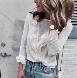 long sleeve ruffled lace blouse 2019 - Women Ladies Blouses Elegant Casual Ruffles Lace Polka Dot O Neck Shirt Long Sleeve Tops Blouse Blusa Feminina 2018 New