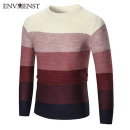 1f9605adce8b Envmenst 2017 Fashion Autumn Men Pullover Sweaters Slim Fit Knitting  Gradient Color Splicing Leisure Man Knitwear L18100802
