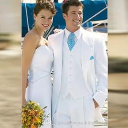 Fitting For Suit Canada - White Men Suits Wedding Suits For Men Bridegroom Groom Wear Best Man Regular Fit Blazer Prom Formal Custom Made Tuxedos Jacket+Vest+Pants