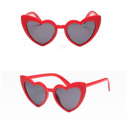 Discount designer heart shaped sunglasses - Red Ladies Heart Fashion Shaped Sunglasses love heart sunglasses women cat eye vintage Brand Designer Female Shades Lady