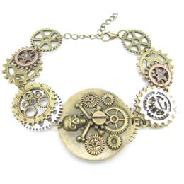 $enCountryForm.capitalKeyWord Australia - Bronze OX Pirate Skull DIY Gears Linked Steampunk Bracelet Vintage Jewelry