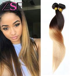 $enCountryForm.capitalKeyWord NZ - ZSF 8A Hot Selling Peruvian Malaysian Ombre Straight Weave Hair Extensions 2Bundles 1b 27 Human Hair Straight Hair Weave