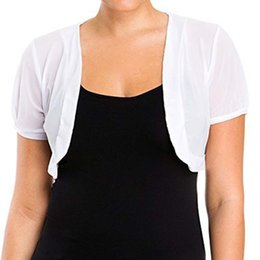 $enCountryForm.capitalKeyWord Australia - 2018 Summer Women Short Sleeve Crop Jacket Chiffon Bolero Shrug Solid Open Stitch Slim Ladies Coats Outerwear Female Plus Size