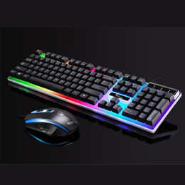 2018 usb keyboards for laptops USB Wired Keyboard and Optical Mouse Combo Colorful Backlit Keypad Business Office Mouse Suit for Desktop Laptop PC disc