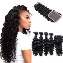 $enCountryForm.capitalKeyWord NZ - Deep Wave Lace Closure with 4 Bundles Peruvian Human Hair Weave Bundles with Free Part Closure FDshine