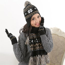 Hair Glove NZ - Autumn and winter knitted acrylic hat scarf gloves three-piece jacquard warm kit Korean version of the hair ball dthree-piec
