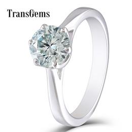 $enCountryForm.capitalKeyWord UK - TransGems 10K White Gold Center 1ct Engagement Ring 6.5MM Diameter 8 Heart and Arrows Cut Slight Blue Moissanite for Women Gift S923