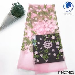 delivery flowers 2019 - Dubai fabric lace flowers embroidery french lace fabric allover 2018 luxury lace fabric free delivery 5 yard JYN274