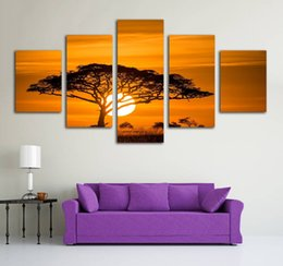 $enCountryForm.capitalKeyWord UK - Fashion Home Decoration Print Painting Vintage Art Canvas Frameless 5 Panel Tress at Sunset Wall Picture For Living Room Decor