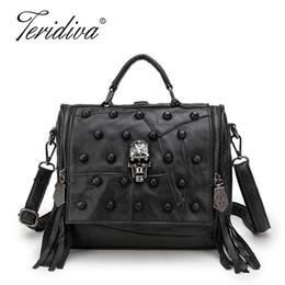 $enCountryForm.capitalKeyWord Canada - Teridiva Genuine Leather Bag Women Handbag Vintage Patchwork Sheepskin Shoulder Bags Messenger Bag Rivet Tassel Punk Skull Purse