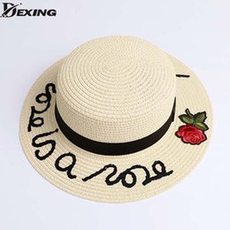 2018 Bone Sun Hat For Women Panama Cap Embroidered letters Straw Hat roses  Beach Female Summer British Bow Stetson 18e07f4f863