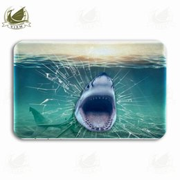 kitchen mat rug NZ - Vixm Wall Shark Illustration 3D Rendering Wallpaper Welcome Door Mat Rugs Flannel Anti-slip Entrance Indoor Kitchen Bath Carpet