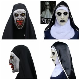Chinese  The Nun Cosplay Mask Costume Latex Prop Helmet Valak Halloween Scary Horror Conjuring Scary Toys Party Costume Props FFA970 12pcs manufacturers