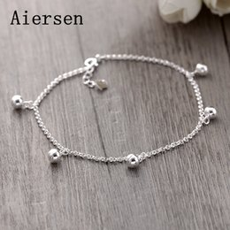 Discount simple chain anklets - Aiersen Real 925 Sterling Silver Anklets Casual The Bell Design Silver Chains Girl Simple Srebro 925 Anklets Fine Jewelr