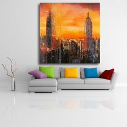$enCountryForm.capitalKeyWord Australia - Modern canvas Oil Painting Abstract Colorful Orange & Red New York Canvas Wall Pictures for Living Room Office No Frame
