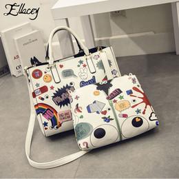 graffiti handbags 2019 - New Fashion Women Handbags Cartoon Printing Composite Bag Set Embossed PU Leather Bag Lovely Girls Totes Graffiti Should