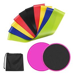 2 Sliders Núcleo Gliding Disk + 5 Exercício Faixas de Resistência, bandas de treino de látex equipamentos de exercício para treino de fitness de treino venda por atacado