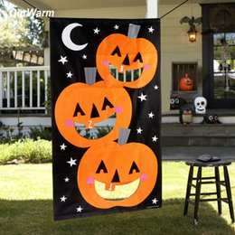 wholesale halloween kids game felt hanging pumpkin bean bag toss game for family outdoor activity halloween decoration props
