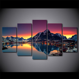 Art Canvas Prints Australia - Canvas Pictures Wall Art Frame Home Decor 5 Pieces The Country Of The Island Paintings HD Prints Reine Norway Lake Poster
