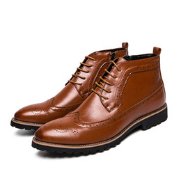 259539dff54ec classic pointed men work boots italian luxury brand formal leather men shoes  dress moccasin high top brogue oxford shoes for men