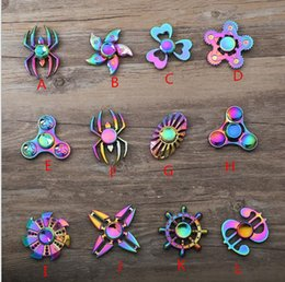 spin gyro metal NZ - 2018 Christmas fidget spinner rainbow new metal fidget spinners hans toy spinning top EDC toy spins tri-spinner spriral gyro free shippping