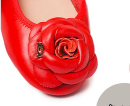 fold up flats UK - Women Folding yoga ballet flats luxury fashion brand sexy Genuine Leather classic cute Camellia simple ladies party drive casual shoes