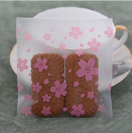 cherry blossom gifts Canada - Pink Clear Cherry Blossoms OPP Bags Wedding Candy Bag Cookie Biscuits Packaging Bag Christmas Gift Bag GA5