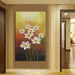 modern floral oil paintings Australia - Hand Painted Modern Simple Flower Oil Painting On Canvas Home Decoration Gift Lotus Picture Home Living Room Decoration