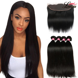 Malaysian Straight Hair 22 Inches Canada - Peruvian Indian Malaysian Cambodian Brazilian Straight Human Hair 3 Bundles With Frontal 100% Unprocessed Brazilian Straight Virgin Hair 1b