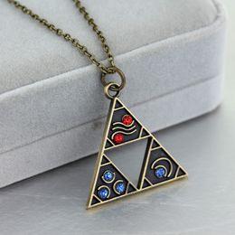 Discount antique porcelain plates - The Legend of Zelda Necklace Vintage Antique Bronze Zelda Triangle Pendant Necklaces Gate of Time Fashion Jewelry Access