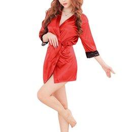 22e97b58b Women Nightwear Brands Australia - New Brand Robes Women Sexy Nightwear  Lace-trimmed Satin Female