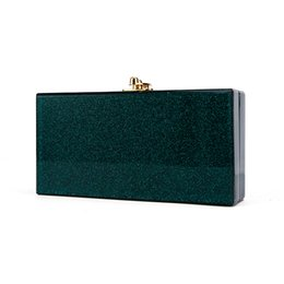 China Clutch Bag UK - China Factory Supplier Small Green Glitter Ladies Bridal Acryli Holder Box Makeup Case Acrylic Box Clutches Evening bags