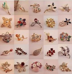 $enCountryForm.capitalKeyWord NZ - Design Brand Brooch Pins, Mixed Lot Elegant Flowers Creative Animals Womens Girls Rhinestone Crystal Pin Brooches Gifts For Holidays