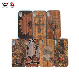 Chinese  2018 New Arrival Wood Cell Phone Case Carving Animal Pattern Phone Case with PC for iPhone 8 for iPhone 10 6plus 7 plus manufacturers