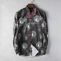 2019 American Business-Marke Self-Kultivierung kariertes Hemd, Mode-Designer-Marke Langarm-Baumwoll-Casual-Shirt gestreiften Co-Kleid Shirt 30