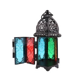 China Vintage Moroccan Decor Lanterns Hollow Candlestick Candle Holder Windproof Lantern Candle Holders For Wedding Home household Decoration suppliers