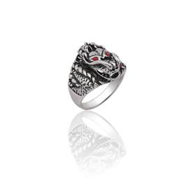 $enCountryForm.capitalKeyWord Australia - Punk Animal Rings For Women Steampunk Ring Men Jewelry Trendy 3D Red Eyes Dragon Hip Hop Silver Metal Ring Gothic Christmas Xmas