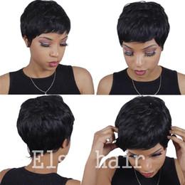 Discount bob cut natural african hair - Cheap Human Real Hair Short Pixie cut Wigs Peruvian Full Hair Glueless Lace Wig African American Short Bob Wigs