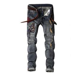 Men scratch jeans online shopping - Potrait Embroidered Mens Vintage Jeans Fashion Washed Skinny Hole Denim Pants Pencil Denim Pants Scratched Pencil Pants