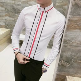 cbfda069682 Quality Korean Men Shirt Hot Sale Autumn New Slim Fit Striped Social Mens  Shirts Dress Long Sleeve Casual Prom Tuxedo Shirt Male