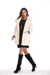 ladies simple jacket 2019 - Christmas latest design winter long-sleeved high-grade woolen ladies jacket winter simple warm coat loose fur fluffy coa