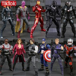 Wholesale Captain America Civil War Iron Man Black Panther Winter Soldier Black Widow Hawkeye Vision Scarlet Witch Toy Figure Model Gift
