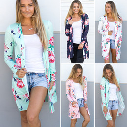 blaue strickjacken für frauen großhandel-Frühling frauen floral cardigan us europe stil top casual contrast long sleeves dünne outwear mantel top kleidung für verkäufe
