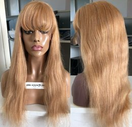 women human hair wig Canada - 9A Grade Honey Blonde Full Lace Wigs with Bang European Virgin Human Hair Straight Gluelss Lace Front Wigs for Black Woman Free Shipping