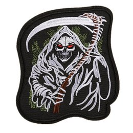 Chinese  Embroidered Patches Skull Sickle Punk Style Sewing Iron On Badge For Bag Jeans Hat Appliques DIY Decoration manufacturers