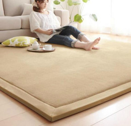 Yellow table mats online shopping - Large Chenille Carpet Coral Fleece Mat CM Tatami Table Manually Bedroom Carpet Rectangle Living Room Rug CM Thick