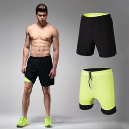 Wear Compression Shorts Australia - Mens Running Shorts Active Sport Gym Trunks Compression Lycra Boxers Inside Yoga Wear Men Tennis Shorts Exercise Training Trunk