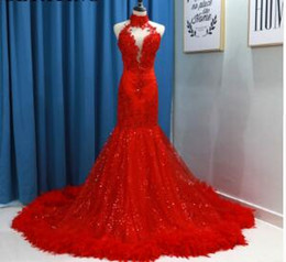 Red Embroidered Evening Dresses Australia - Red Sequins Mermaid Prom Dresses Feather Long Train High Neck Backless Black Girls African Women Evening Party Gowns Graduation