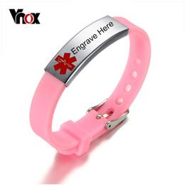 Medical Alert Jewelry NZ - Vnox Women Medical Alert ID Bracelet Bangle Free Engrave Pink Color Silicone Bracelet for Women Lady Girl Jewelry